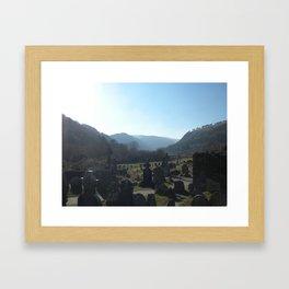 Glendalough Graveyard Framed Art Print