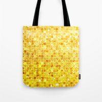 gold glitter Tote Bags featuring Disco Gold - Glitter by Paula Belle Flores