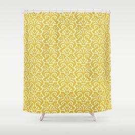 Art Nouveau Pattern Mustard Yellow Shower Curtain