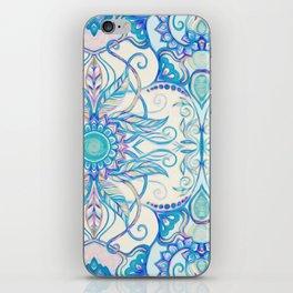 Teal Blue, Pearl & Pink Floral Pattern iPhone Skin