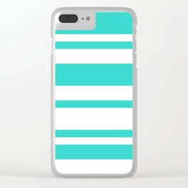Mixed Horizontal Stripes - White and Turquoise Clear iPhone Case