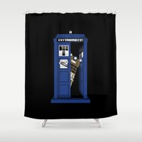 dalek Shower Curtains featuring Dr. Dalek by 1982 est. by A.W. Owens