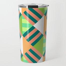 Multicoloured Geometric Block Striped Pattern Travel Mug