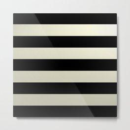 Black & Beige Horizontal Stripes Metal Print
