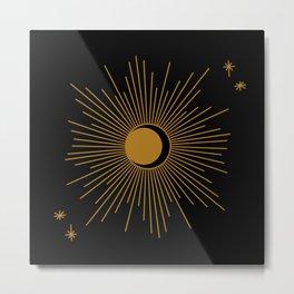 Subtle Sun Moon Stars in Black and Ochre Metal Print