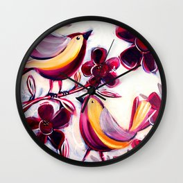 Finches in the Flowers I Wall Clock