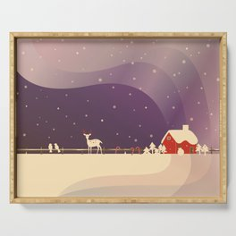 Peaceful Snowy Christmas (Plum Purple) Serving Tray
