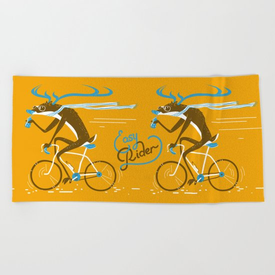Easy Rider // (cycling hipster deer) Beach Towel