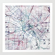 Dallas map Art Print