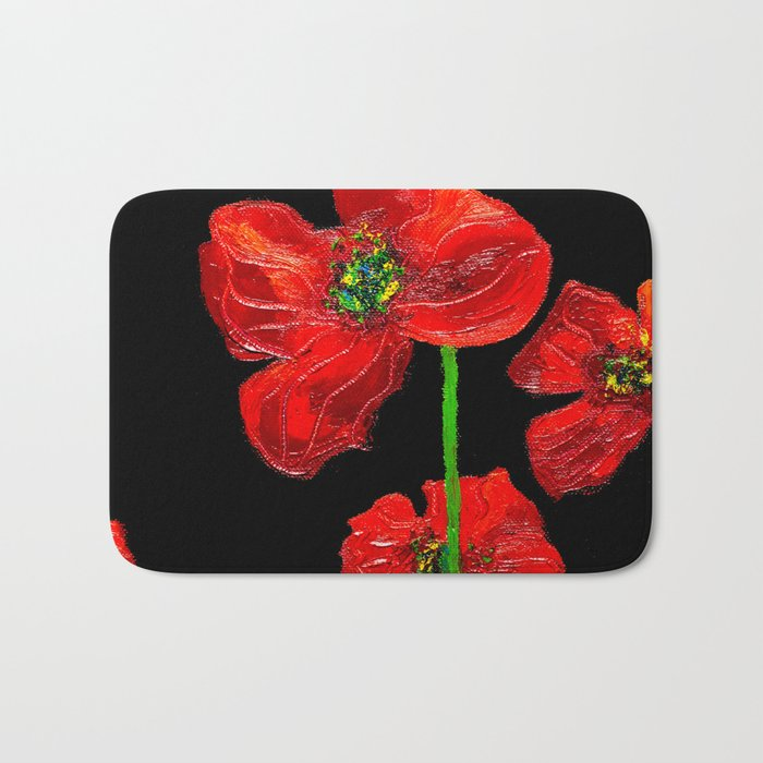 red flowers on black Bath Mat