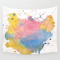 splatter Wall Tapestries featuring RAINBOW SPLATTER by N A T
