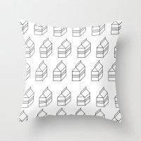 milk Throw Pillows featuring milk by sharon