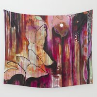 "flora bowley Wall Tapestries featuring ""Kiss"" Original Painting by Flora Bowley by Flora Bowley"