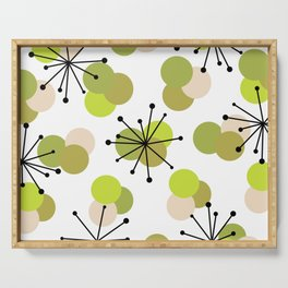 Atomic Age Molecules Starbursts Chartreuse Serving Tray