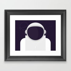 Astronaut is listening music Framed Art Print
