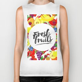 Fresh fruits. Background with juicy ripe fruit and berries , round composition, lettering. Biker Tank