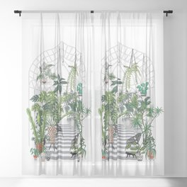 greenhouse illustration Sheer Curtain