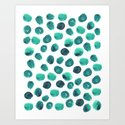 Esme - painted brushstroke emerald jade mint dots polka dots pattern design  by charlottewinter