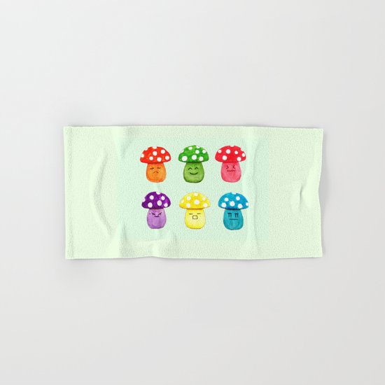 cute mushroom emoji watercolor painting  Hand & Bath Towel