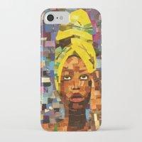 erykah badu iPhone & iPod Cases featuring Chopped and Glued - Erykah Badu by ByReenaRae