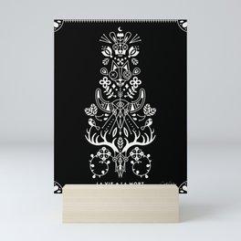 La Vie + La Mort: White Ink Mini Art Print