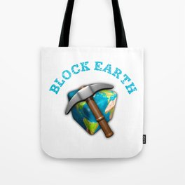 Block Earth - (White background) Tote Bag