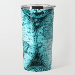 Turquoise Antique World Map Travel Mug