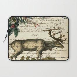 western country primitive christmas mountain animal wildlife winter pine tree elk Laptop Sleeve