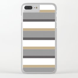 Grey And Gold Stripes with White Clear iPhone Case