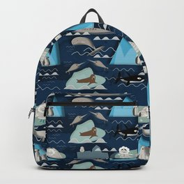 Arctic animals blue Backpack