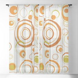 Psychedelic Circles Orange Sheer Curtain