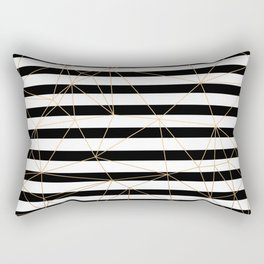 Gold Geometric Pattern Black and White Stripes Rectangular Pillow