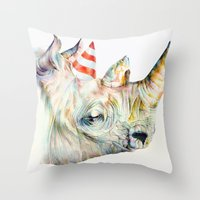 party Throw Pillows featuring Rhino's Party by Brandon Keehner