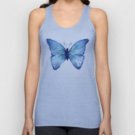 Blue Butterfly Watercolor Unisex Tank Top