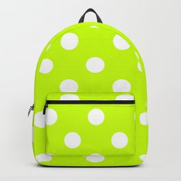 Polka Dots - White on Fluorescent Yellow Backpack