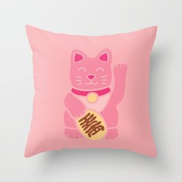 Lucky Cat in Pastel Pink Throw Pillow
