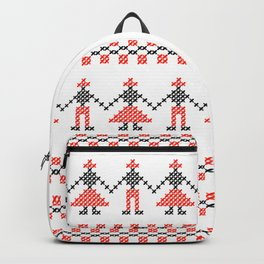 Traditional Romanian dancing people cross-stitch motif white Backpack