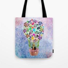 Teal Pink Vintage whimsical cat floral Air balloon Tote Bag