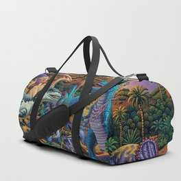 Dinosaurs flee the volcano Duffle Bag