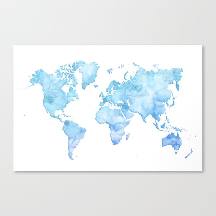 Light blue watercolor world map canvas print by blursbyaishop society6 light blue watercolor world map canvas print gumiabroncs Image collections