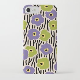 Mid Century Modern Wild Flowers Pattern Purple and Green iPhone Case