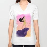 pocahontas V-neck T-shirts featuring Pocahontas #2 by Vita♥G