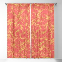 Bright yellow smooth curved lines on a red background for a festive summer and fiery mood. Sheer Curtain