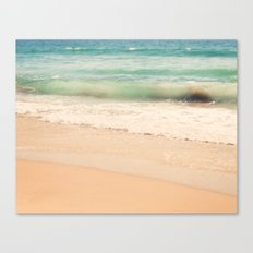 beach. Sea Glass ocean wave photograph.  Canvas Print