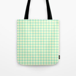 Cream Yellow and Magic Mint Green Diamonds Tote Bag