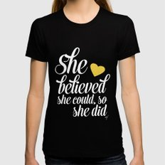 She believed and she did Black MEDIUM Womens Fitted Tee