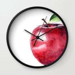 Fall Harvest. Apple. Watercolor painting Wall Clock