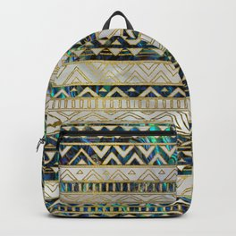 Tribal Ethnic  Pattern Gold on Abalone Shell and Pearl Backpack