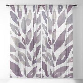Watercolor floral petals - purple and grey Sheer Curtain