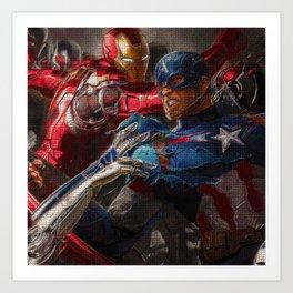 War of superhero Art Print